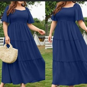 Plus size butterfly sleeve shirred maxi dress